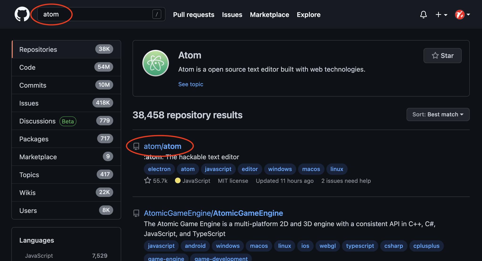GitHubでatomを検索